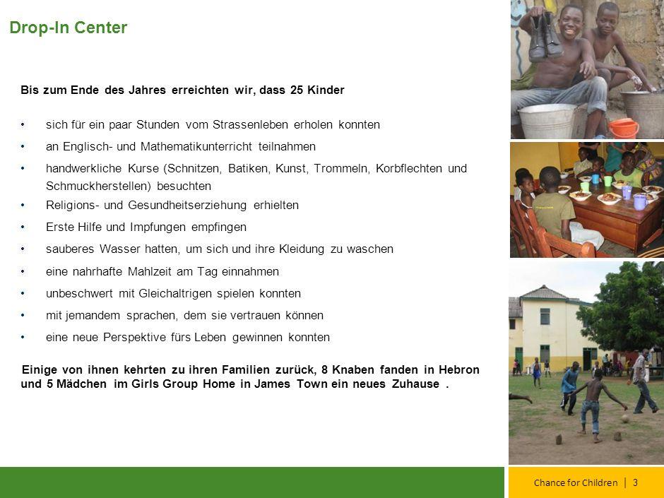 | Chance for Children Ziele für 2011 Kinder in Familien Reintegration in die Familien, weiterführende Betreuung und Unterstützung Verbesserung der Qualität unserer Dienste Individuelle Beurteilungen, weiterführende Zielkontrollen und Entwicklungspläne der Kinder Fokus Mädchen Auf die besonderen Bedürfnisse der Mädchen eingehen Curriculum entwickeln und anwenden Bau eines Mädchenhauses in Hebron für 8 -10 Mädchen Strassenarbeit Noch intensiveren Kontakt zu Kindern auf der Straße Erstansprache von 100 Straßenkindern pro Monat Chance for Children Team