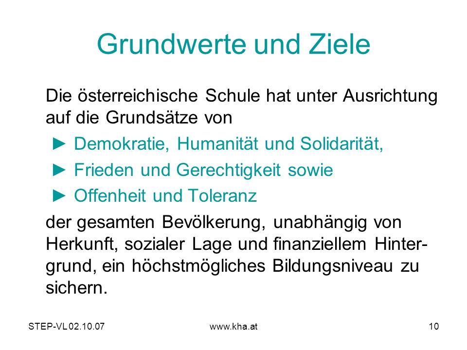 STEP-VL 02.10.07www.kha.at10 Grundwerte und Ziele Die österreichische Schule hat unter Ausrichtung auf die Grundsätze von Demokratie, Humanität und So
