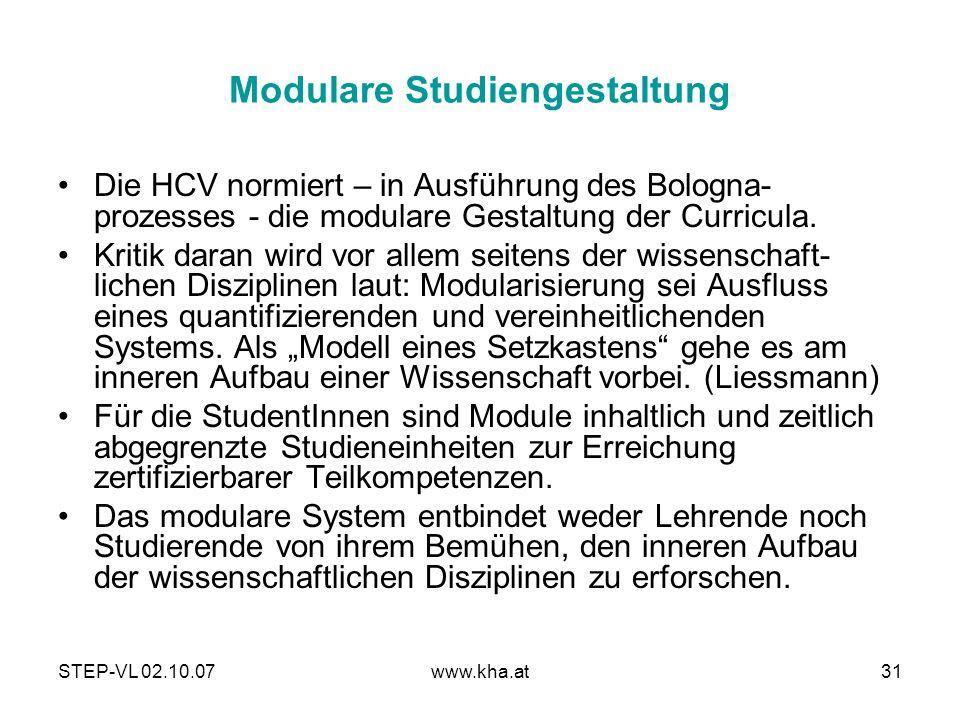 STEP-VL 02.10.07www.kha.at31 Modulare Studiengestaltung Die HCV normiert – in Ausführung des Bologna- prozesses - die modulare Gestaltung der Curricul