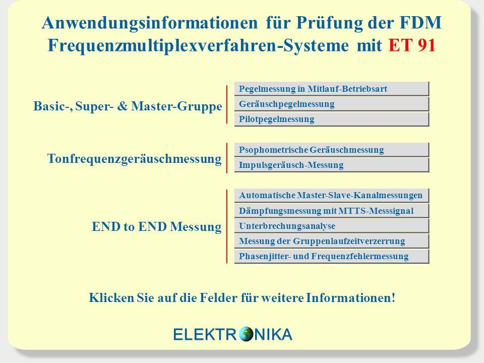 Anwendungsinformationen für Prüfung der FDM Frequenzmultiplexverfahren-Systeme mit ET 91 Basic-, Super- & Master-Gruppe Tonfrequenzgeräuschmessung END