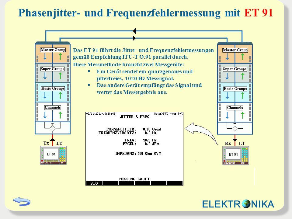 Phasenjitter- und Frequenzfehlermessung mit ET 91 Das ET 91 führt die Jitter- und Frequenzfehlermessungen gemäß Empfehlung ITU-T O.91 parallel durch.
