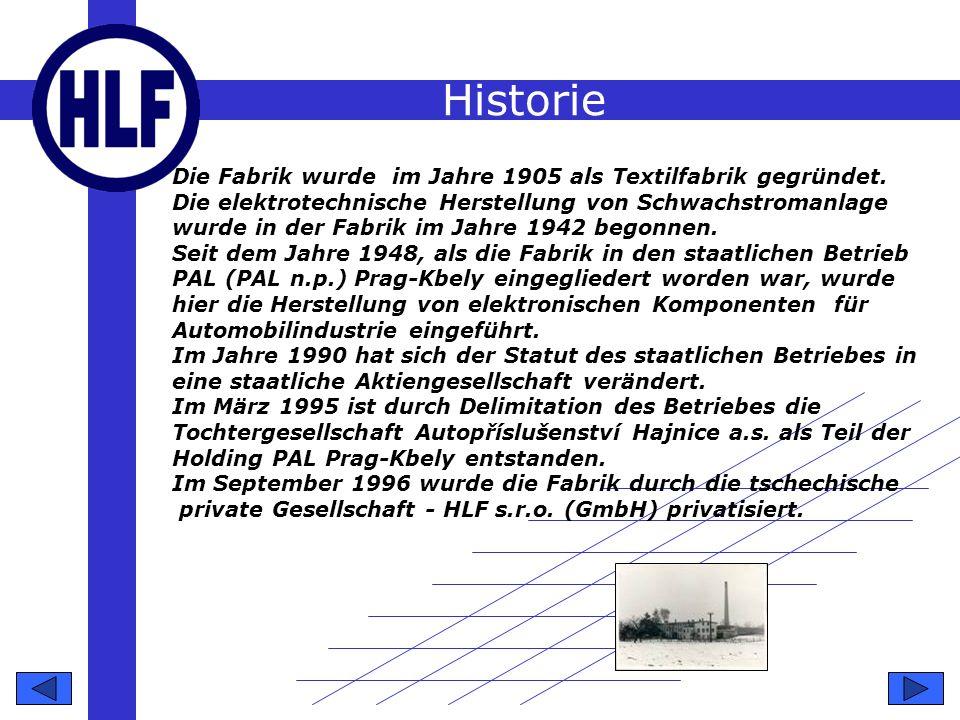 Historie Die Fabrik wurde im Jahre 1905 als Textilfabrik gegründet.