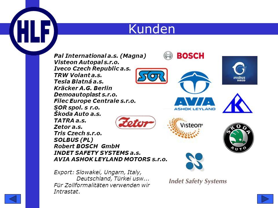 Zertifikation Die Gesellschaft hat ein zertifiziertes System der Qualitätsleitung laut Norm: ISO/TS 16949:2002, ISO EN 14 001:2004.