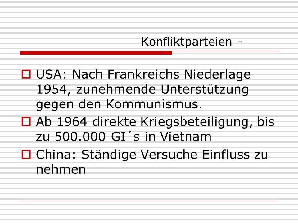 Konfliktverlauf 1 Kämpfe ab 1946 Vietminh kontrollierte ländliche Gebiete – soziale Reformen, Bildungsmaßnahmen Unterstützung durch die Bevölkerung Ab 1949.