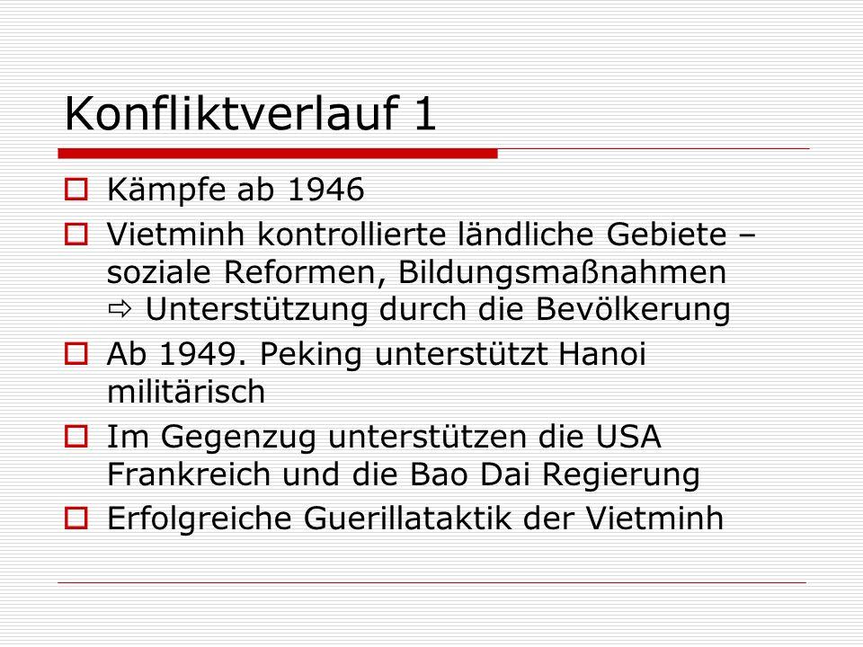 Konfliktverlauf 1 Kämpfe ab 1946 Vietminh kontrollierte ländliche Gebiete – soziale Reformen, Bildungsmaßnahmen Unterstützung durch die Bevölkerung Ab