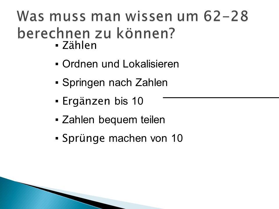 Zählen O rdnen und Lokalisieren S pringen nach Zahlen Ergänzen b is 10 Z ahlen bequem teilen Sprünge machen von 10
