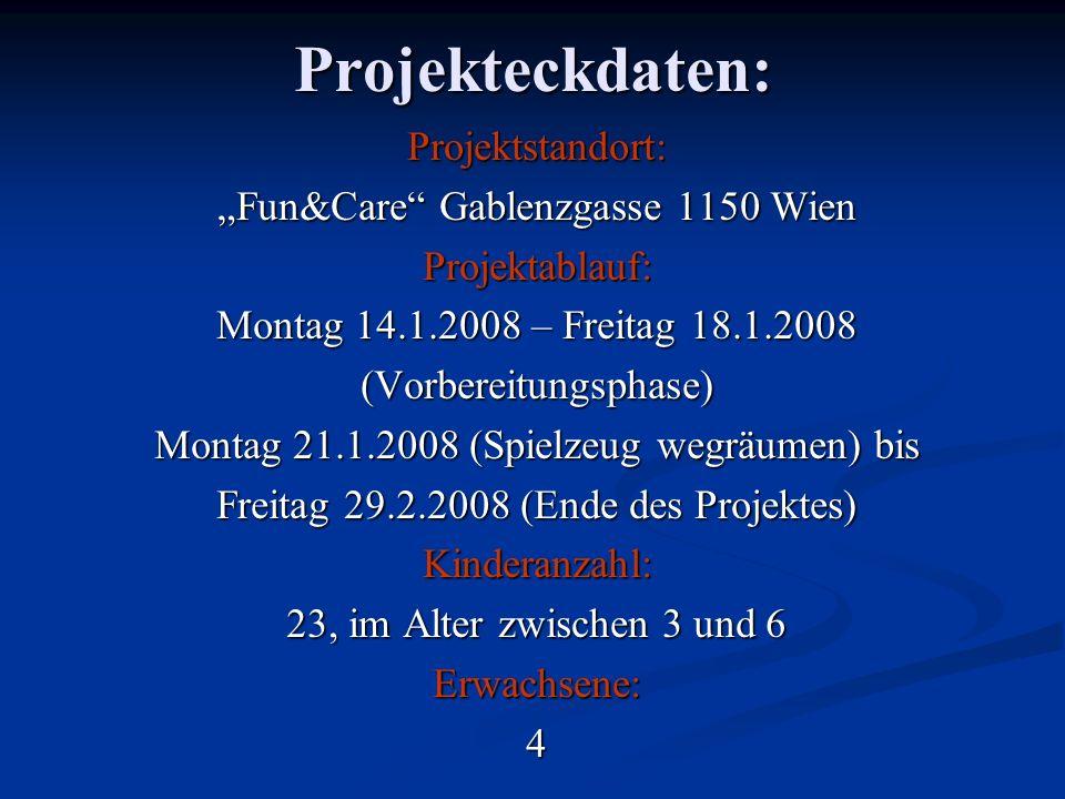 Projekteckdaten:Projektstandort: Fun&Care Gablenzgasse 1150 Wien Projektablauf: Montag 14.1.2008 – Freitag 18.1.2008 (Vorbereitungsphase) Montag 21.1.