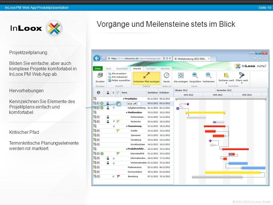 Seite 10 InLoox PM Web App Produktpräsentation © 2001-2012 InLoox GmbH Vorgänge und Meilensteine stets im Blick Hervorhebungen Kennzeichnen Sie Elemen