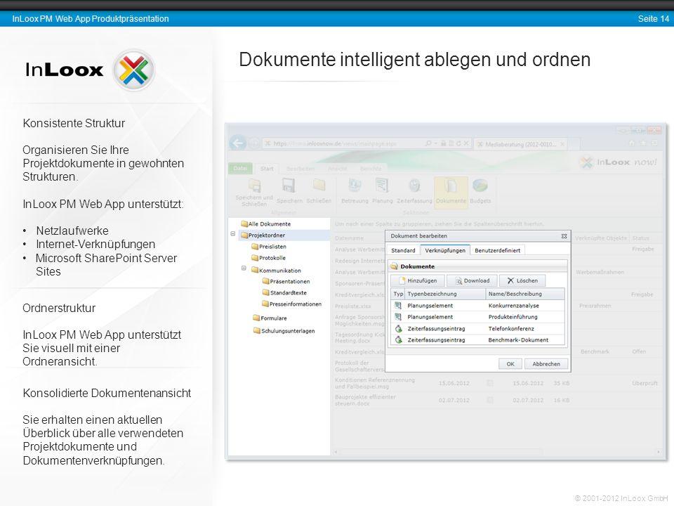 Seite 14 InLoox PM Web App Produktpräsentation © 2001-2012 InLoox GmbH Dokumente intelligent ablegen und ordnen Konsistente Struktur Organisieren Sie