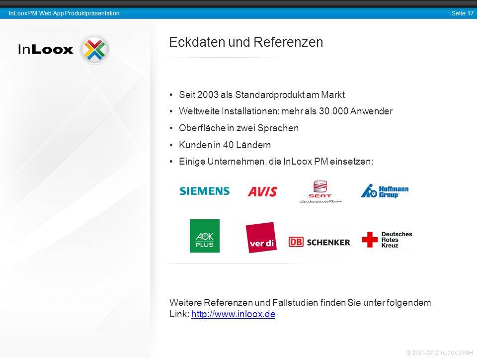 Seite 17 InLoox PM Web App Produktpräsentation © 2001-2012 InLoox GmbH Eckdaten und Referenzen Seit 2003 als Standardprodukt am Markt Weltweite Instal