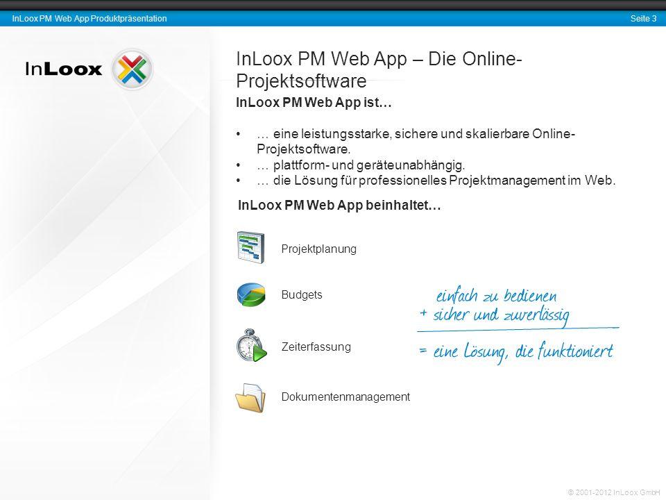 Seite 3 InLoox PM Web App Produktpräsentation © 2001-2012 InLoox GmbH InLoox PM Web App – Die Online- Projektsoftware InLoox PM Web App ist… … eine le
