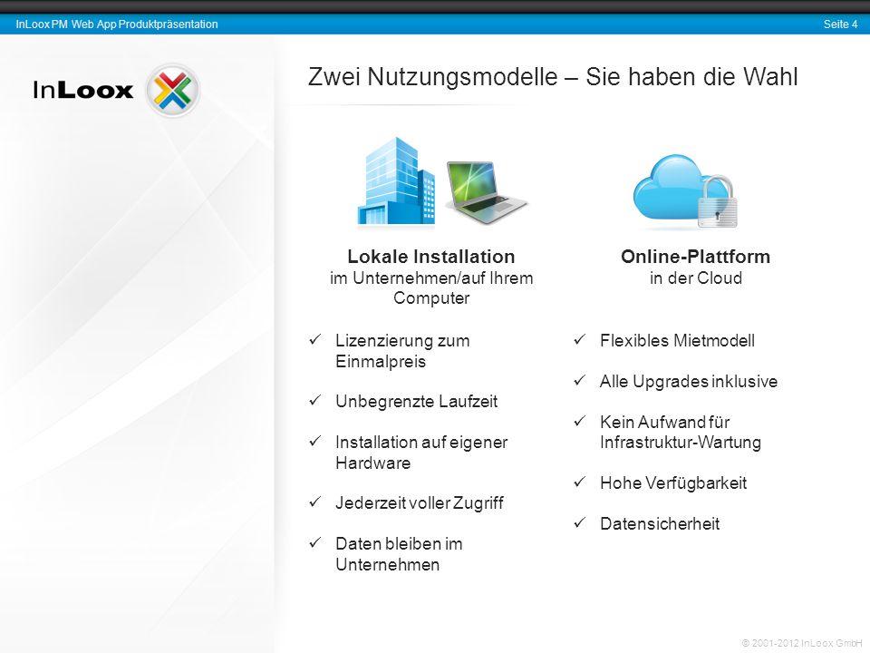 Seite 4 InLoox PM Web App Produktpräsentation © 2001-2012 InLoox GmbH Zwei Nutzungsmodelle – Sie haben die Wahl Lokale Installation im Unternehmen/auf