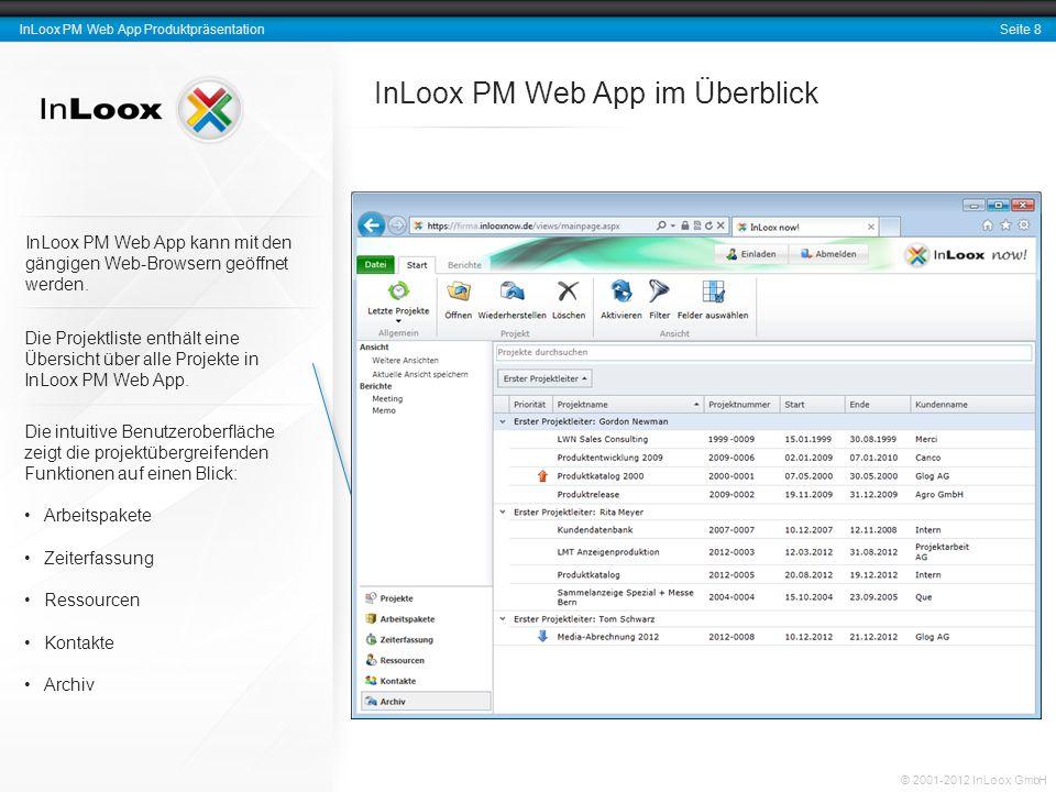 Seite 8 InLoox PM Web App Produktpräsentation © 2001-2012 InLoox GmbH InLoox PM Web App im Überblick InLoox PM Web App kann mit den gängigen Web-Brows