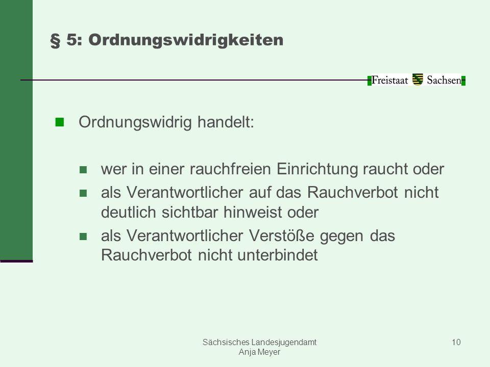 Sächsisches Landesjugendamt Anja Meyer 10 § 5: Ordnungswidrigkeiten Ordnungswidrig handelt: wer in einer rauchfreien Einrichtung raucht oder als Veran