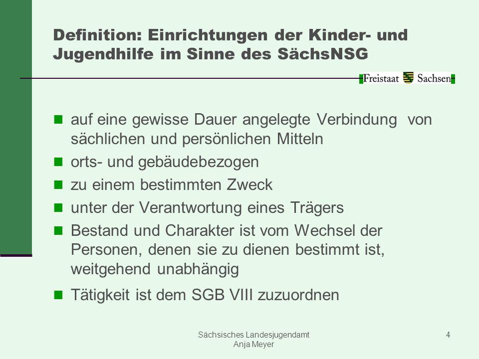 Sächsisches Landesjugendamt Anja Meyer 4 Definition: Einrichtungen der Kinder- und Jugendhilfe im Sinne des SächsNSG auf eine gewisse Dauer angelegte