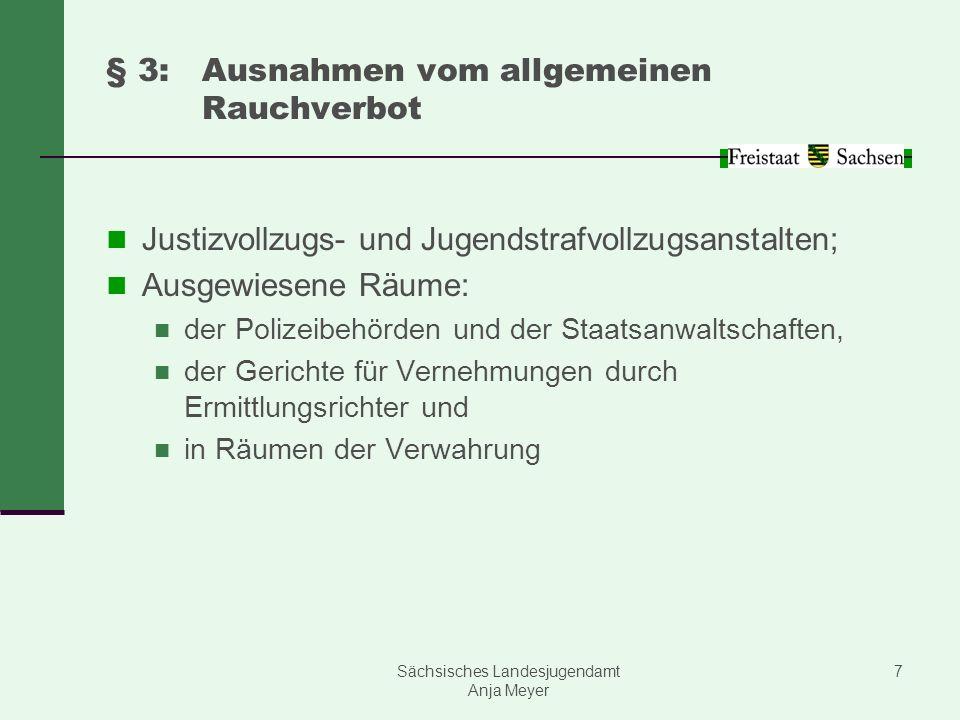 Sächsisches Landesjugendamt Anja Meyer 7 § 3:Ausnahmen vom allgemeinen Rauchverbot Justizvollzugs- und Jugendstrafvollzugsanstalten; Ausgewiesene Räum