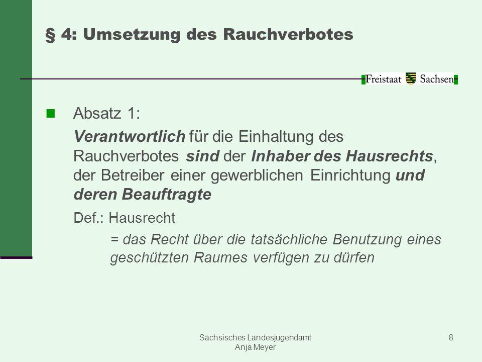 Sächsisches Landesjugendamt Anja Meyer 8 § 4: Umsetzung des Rauchverbotes Absatz 1: Verantwortlich für die Einhaltung des Rauchverbotes sind der Inhab