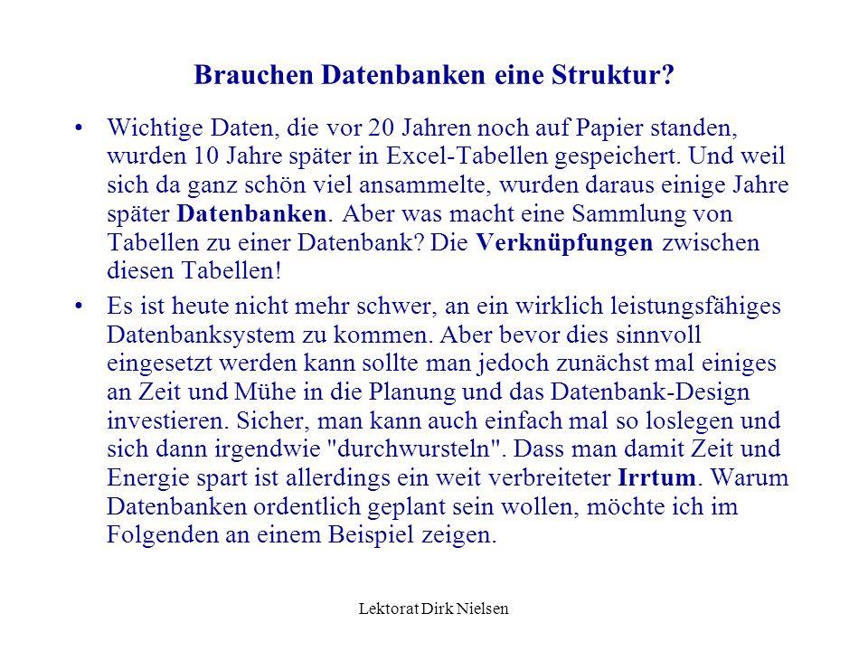 Lektorat Dirk Nielsen Brauchen Datenbanken eine Struktur.