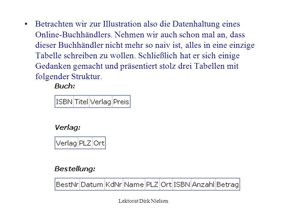 Lektorat Dirk Nielsen Betrachten wir zur Illustration also die Datenhaltung eines Online-Buchhändlers.