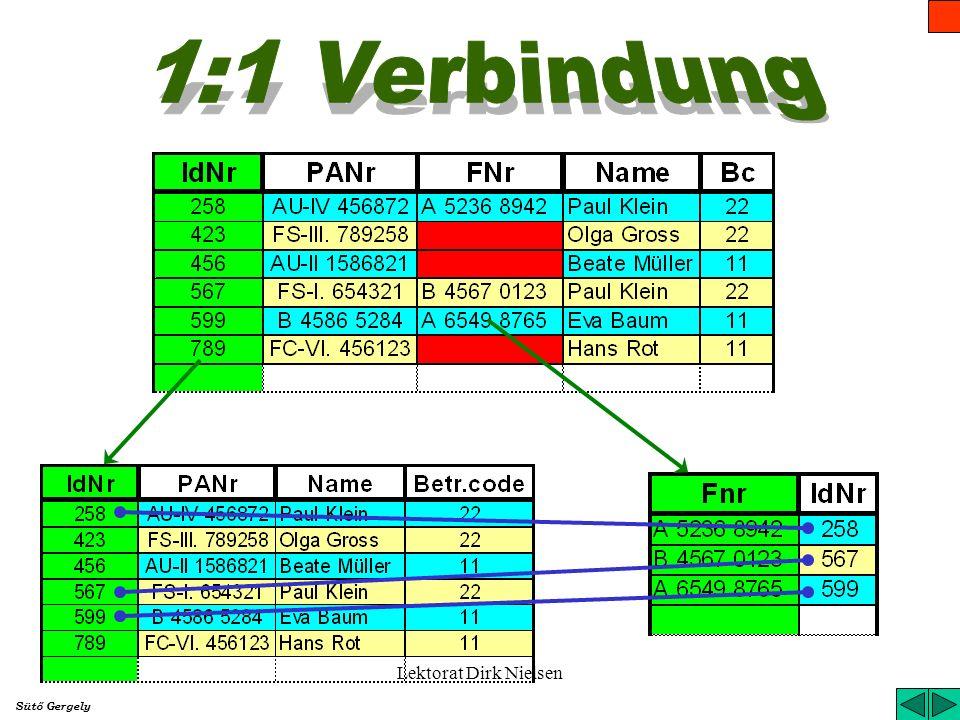 Lektorat Dirk Nielsen Die Verbindung zwischen den Relationen bedeutet die Zuordnung der Zeilen zu den einzelnen Relationen. Der Verbindungsgrad zeigt