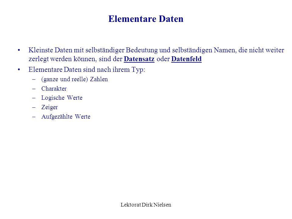 Lektorat Dirk Nielsen Bezeichnungen: Identifizierer Teilidentifizierer Funktionale Abhängigk. Gegenseitige Abhängigk. Kriterium Schwach charakteristis