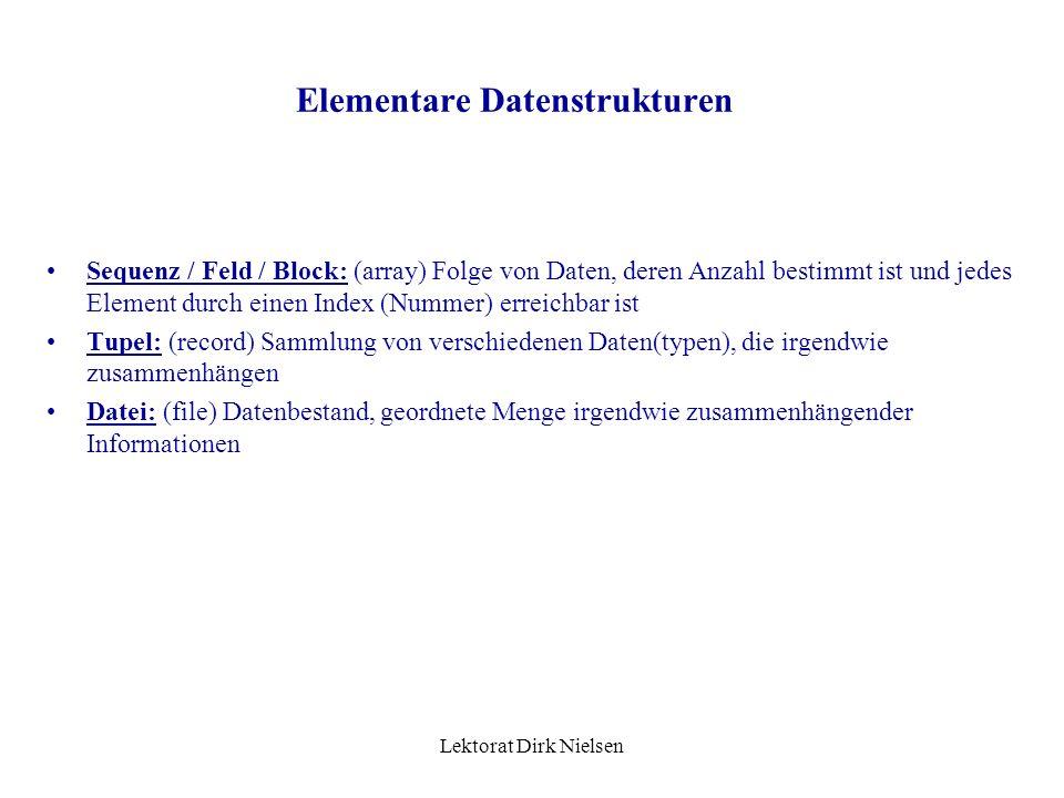 Lektorat Dirk Nielsen Elementare Datentypen Zeiger: (pointer) Datentyp, der nicht Daten beinhaltet, sondern ihre Adresse im (Haupt-) Speicher Aufgezäh