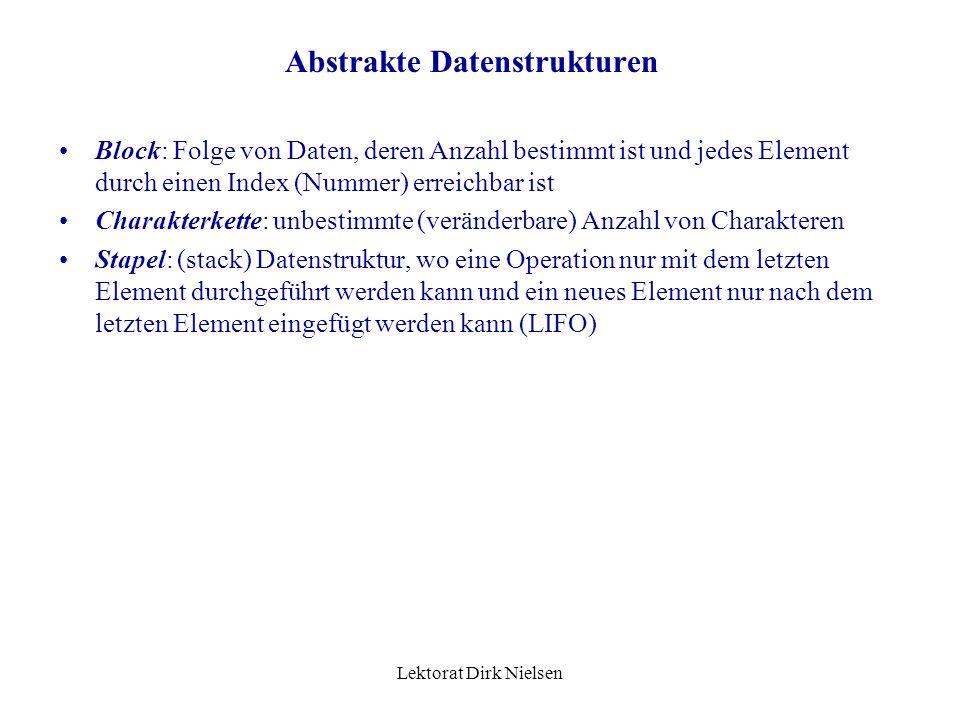 Lektorat Dirk Nielsen Abstrakte Datenstrukturen Verlauf der Abbildung: –logischer Datensatz physische Datenfeld –logischer Tupel physischer Tupel –in