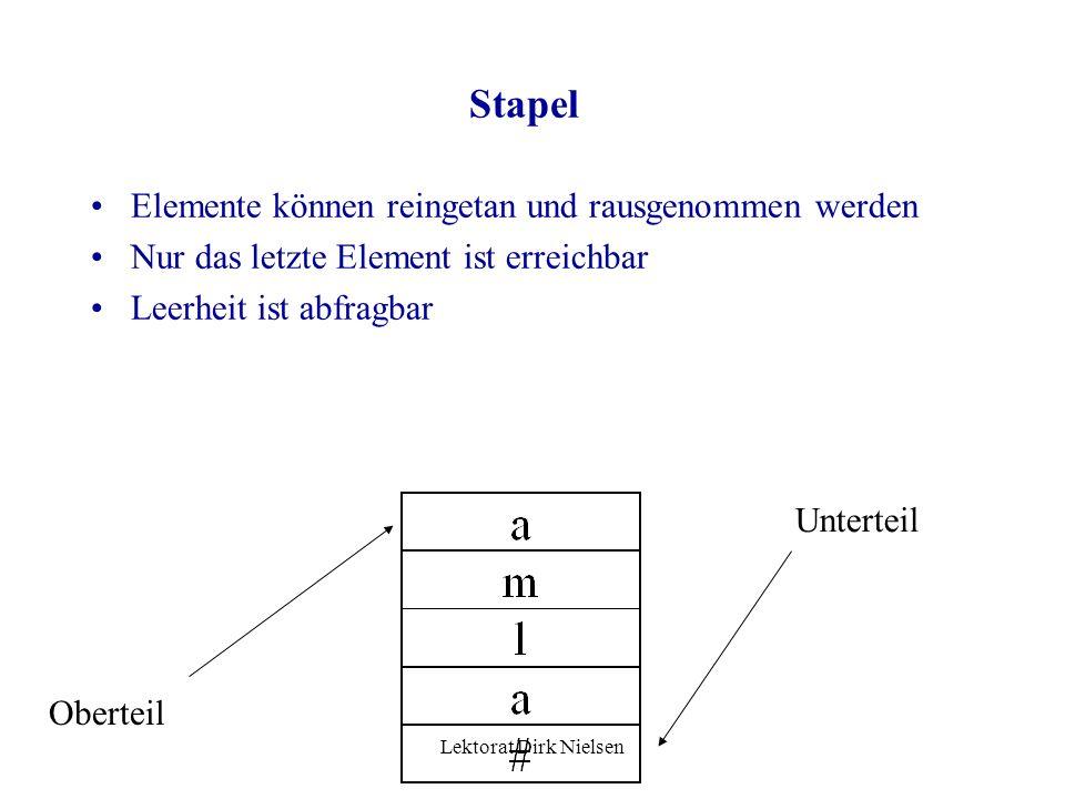 Lektorat Dirk Nielsen Abstrakte Datenstrukturen Block: Folge von Daten, deren Anzahl bestimmt ist und jedes Element durch einen Index (Nummer) erreich