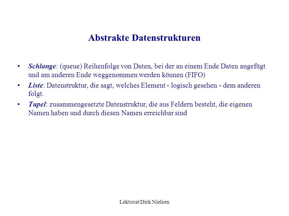Lektorat Dirk Nielsen Elemente können reingetan und rausgenommen werden Nur das letzte Element ist erreichbar Leerheit ist abfragbar Stapel Oberteil U