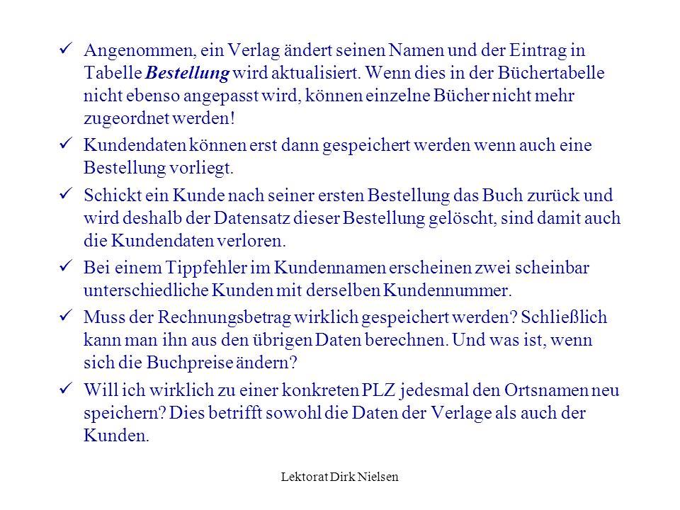 Lektorat Dirk Nielsen Angenommen, ein Verlag ändert seinen Namen und der Eintrag in Tabelle Bestellung wird aktualisiert.