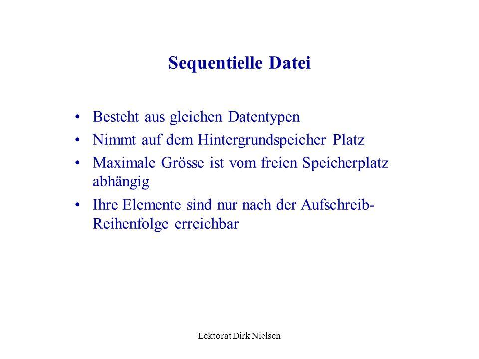 Lektorat Dirk Nielsen Datei Nach dem Öffnen ist in ihr jedes beliebige Element erreichbar – physisch ist sie aber nur als cluster lesbar In der Datei