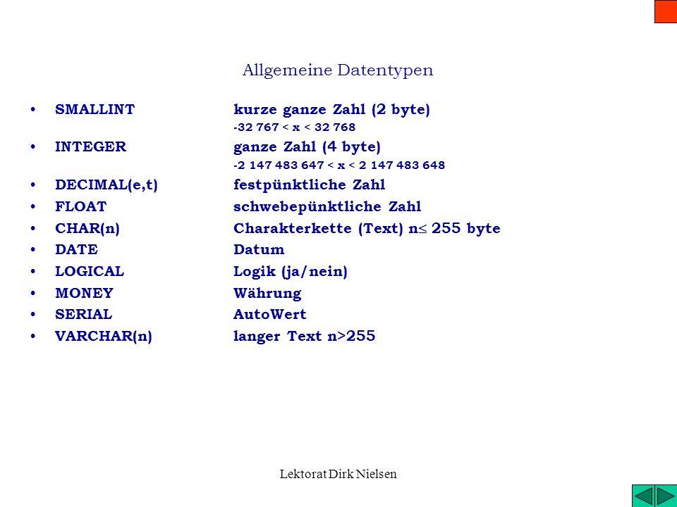 Lektorat Dirk Nielsen Die Charakteristik der SQL Die Charakteristik der SQL Normalisiert, transportierbar (zwischen Systemen und Computern) Selbststän