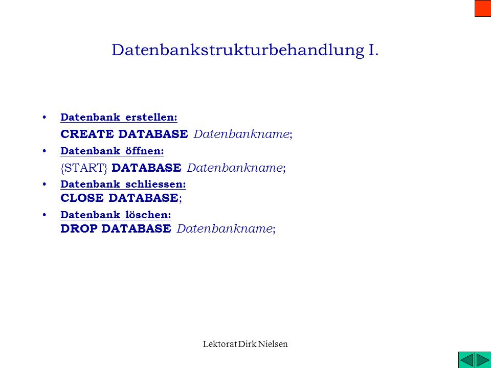Lektorat Dirk Nielsen Allgemeine Datentypen SMALLINTkurze ganze Zahl (2 byte) -32 767 < x < 32 768 INTEGERganze Zahl (4 byte) -2 147 483 647 < x < 2 1