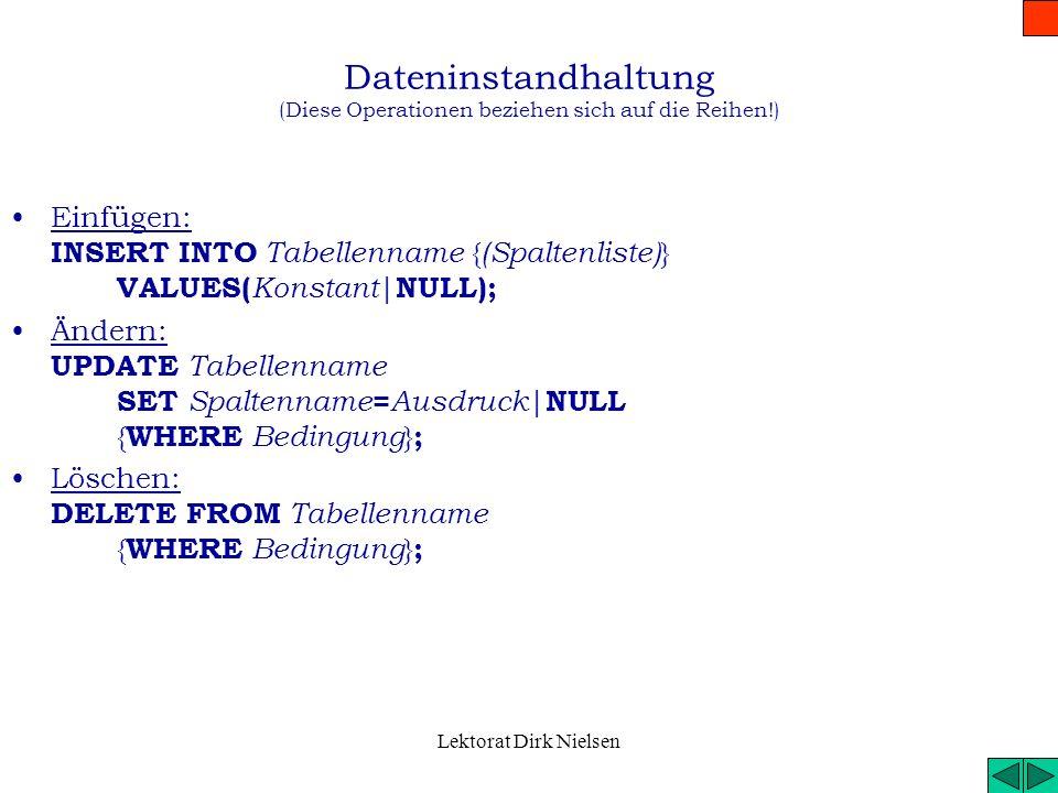 Lektorat Dirk Nielsen Datenbankstrukturbehandlung II. (Tabellen) Neue Tabelle erstellen: CREATE TABLE Tabellenname ( Spalte 1 {, Spalte 2, …} ); Neue