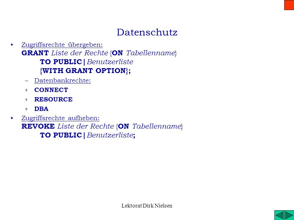 Lektorat Dirk Nielsen Abfrage weitere Komponente Tabellen Verknüpfen (JOIN) –Starke Verbindung: INNER JOIN…ON –Lockere Verbindung LEFT|RIGHT JOIN Vere