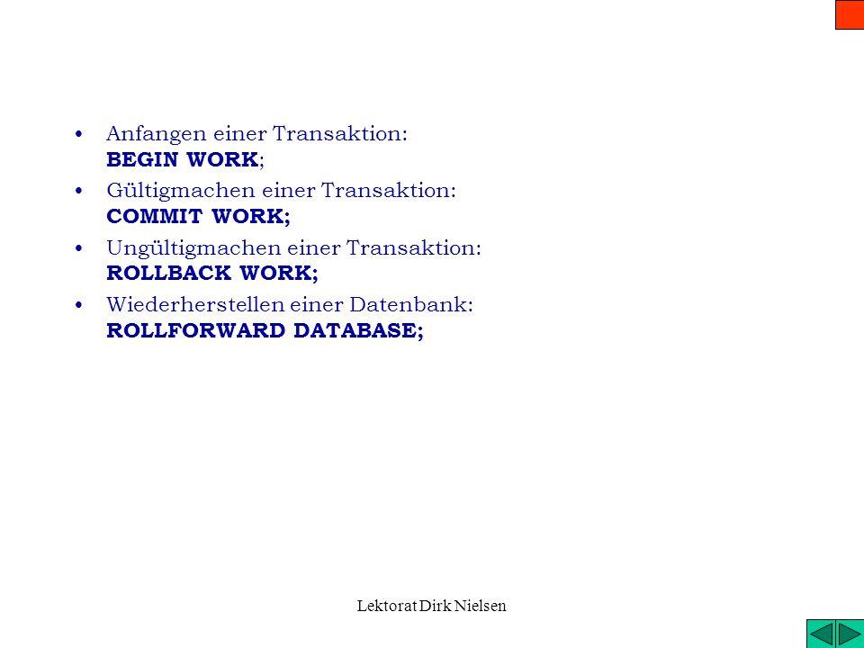 Lektorat Dirk Nielsen Datenschutz Zugriffsrechte übergeben: GRANT Liste der Rechte { ON Tabellenname } TO PUBLIC| Benutzerliste {WITH GRANT OPTION}; –