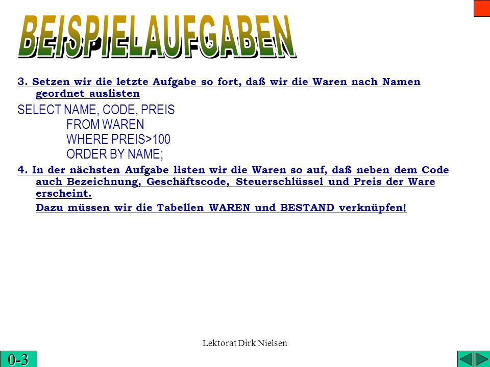 Lektorat Dirk Nielsen 1. Listen wir die Tabelle WAREN auf SELECT * FROM WAREN; 2. Listen wir Name, Code und Preis aus der Tabelle WAREN SELECT NAME, C