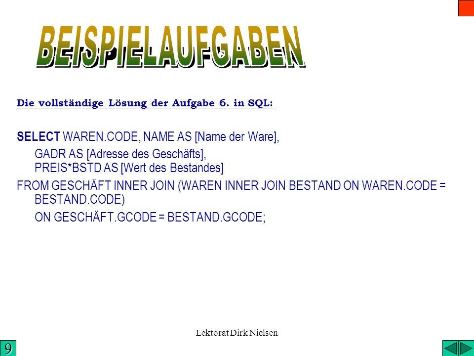 Lektorat Dirk Nielsen ON GESCHÄFT.GCODE = BESTAND.GCODE 9 GESCHÄFTWAREN BESTAND (WAREN GESCHÄFT INNER JOIN ON WAREN.CODE = BESTAND.CODE) INNER JOIN BE