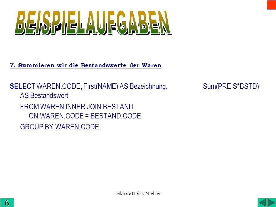 Lektorat Dirk Nielsen Die vollständige Lösung der Aufgabe 6. in SQL: SELECT WAREN.CODE, NAME AS [Name der Ware], GADR AS [Adresse des Geschäfts], PREI