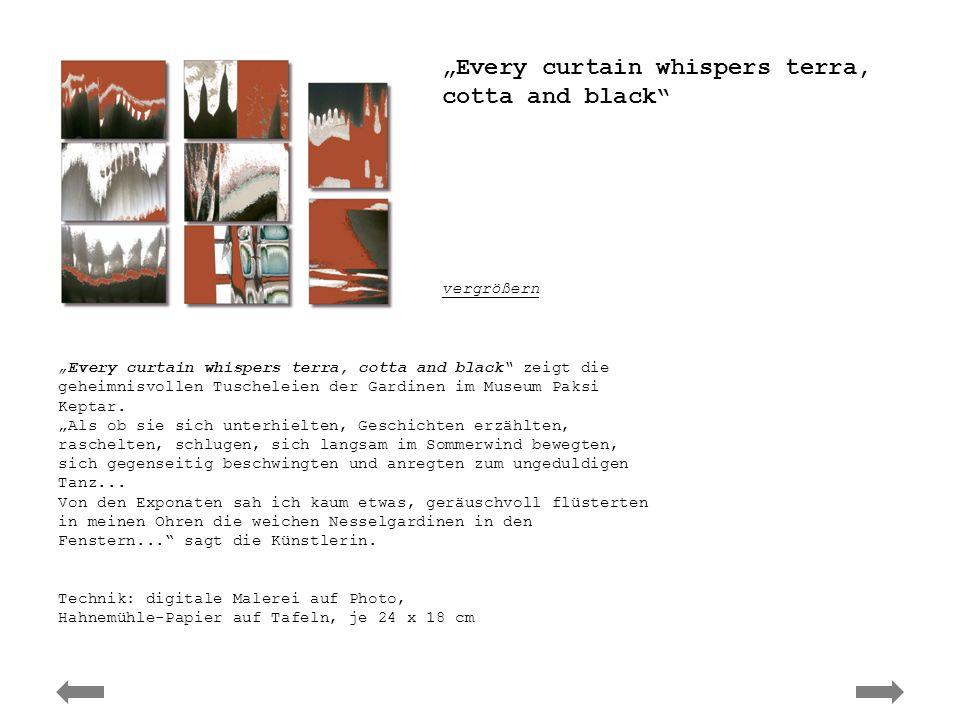 Ute Elisabeth Herwig - curtain whispers Every curtain whispers terra, cotta and black zeigt die geheimnisvollen Tuscheleien der Gardinen im Museum Pak