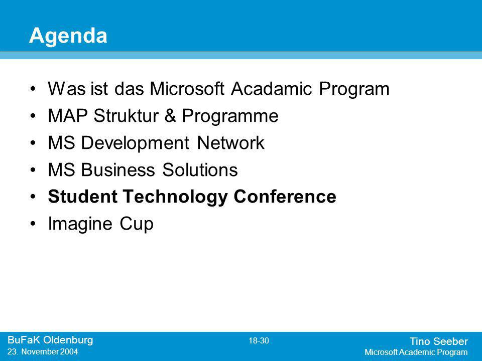 Tino Seeber Microsoft Academic Program BuFaK Oldenburg 18-30 23.