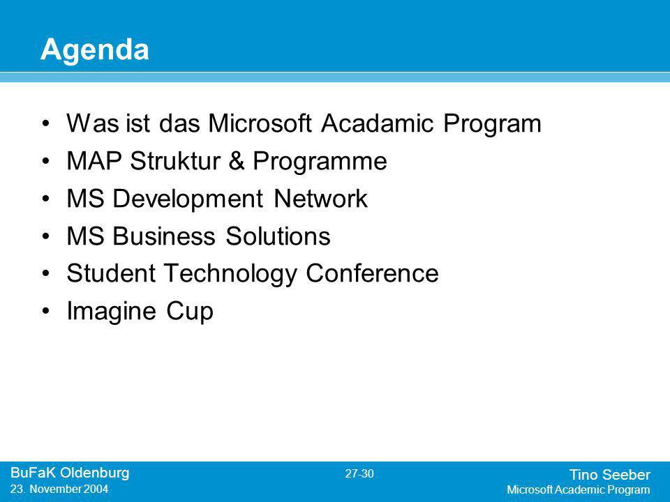 Tino Seeber Microsoft Academic Program BuFaK Oldenburg 27-30 23.