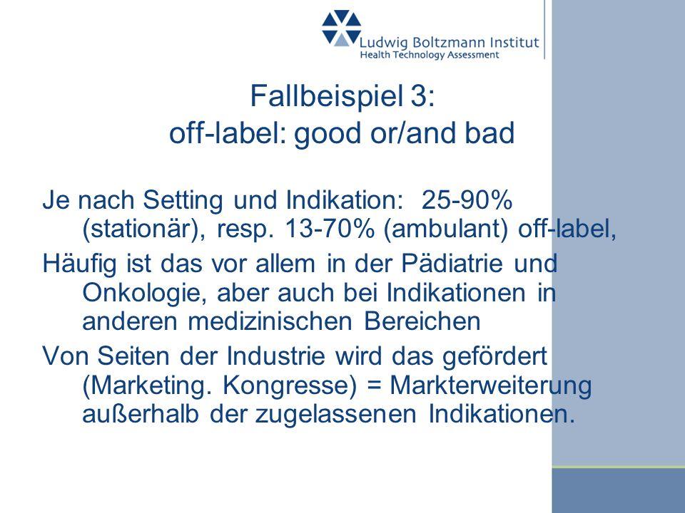 Fallbeispiel 3: off-label: good or/and bad Je nach Setting und Indikation: 25-90% (stationär), resp. 13-70% (ambulant) off-label, Häufig ist das vor a