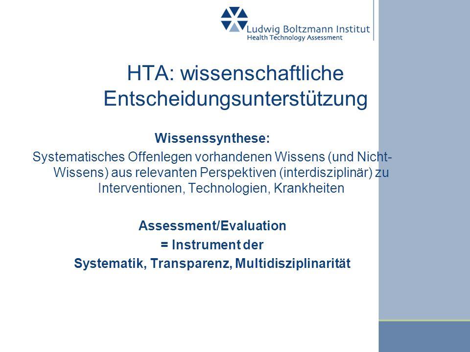 HTA: wissenschaftliche Entscheidungsunterstützung Wissenssynthese: Systematisches Offenlegen vorhandenen Wissens (und Nicht- Wissens) aus relevanten P