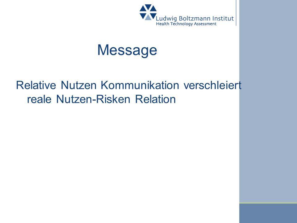 Message Relative Nutzen Kommunikation verschleiert reale Nutzen-Risken Relation