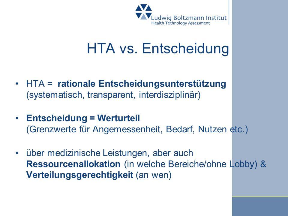 HTA vs. Entscheidung HTA = rationale Entscheidungsunterstützung (systematisch, transparent, interdisziplinär) Entscheidung = Werturteil (Grenzwerte fü