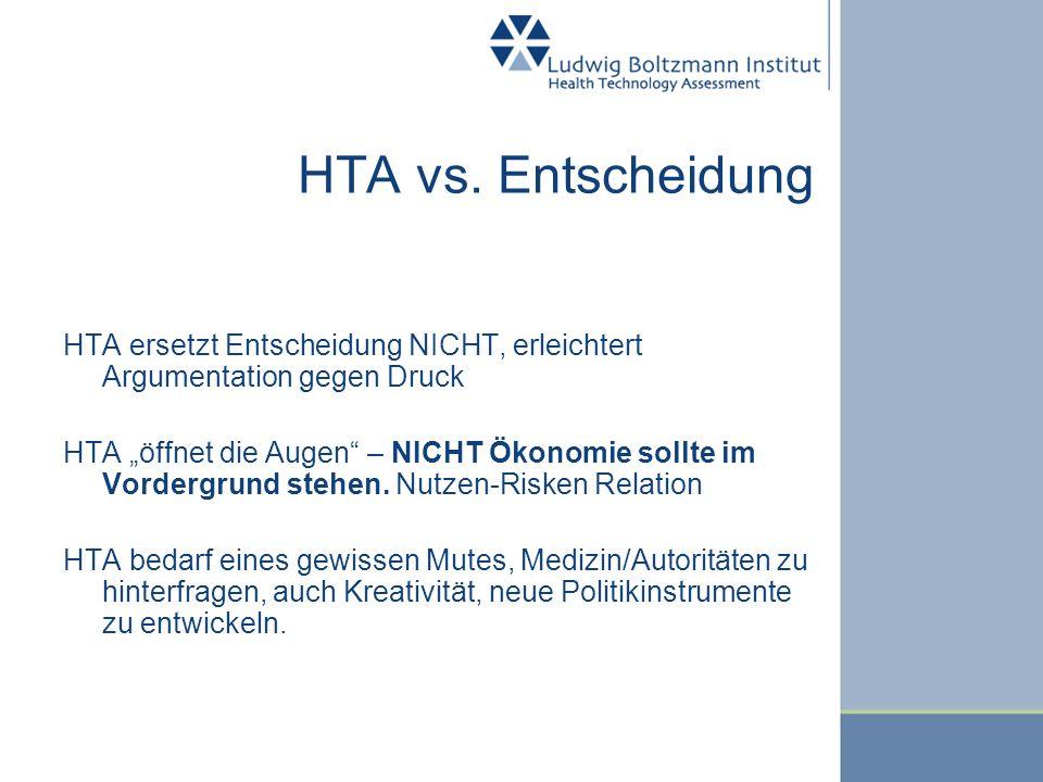 HTA vs. Entscheidung HTA ersetzt Entscheidung NICHT, erleichtert Argumentation gegen Druck HTA öffnet die Augen – NICHT Ökonomie sollte im Vordergrund