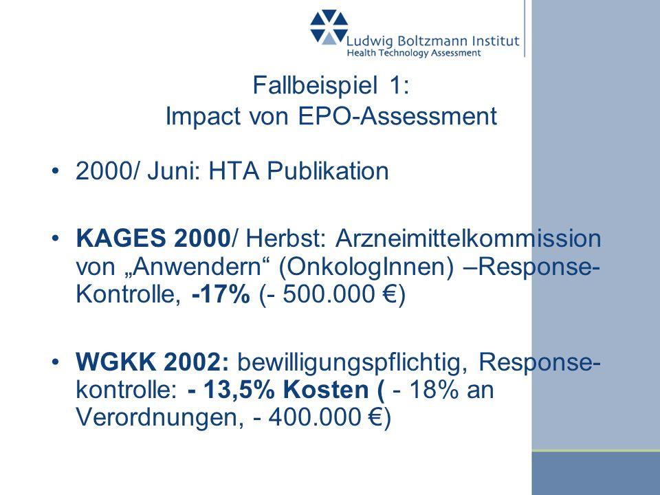 Fallbeispiel 1: Impact von EPO-Assessment 2000/ Juni: HTA Publikation KAGES 2000/ Herbst: Arzneimittelkommission von Anwendern (OnkologInnen) –Respons