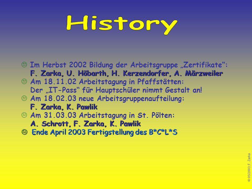 © 05/2003; F. Zarka F. Zarka, U. Höbarth, H. Kerzendorfer, A. Märzweiler Im Herbst 2002 Bildung der Arbeitsgruppe Zertifikate: F. Zarka, U. Höbarth, H