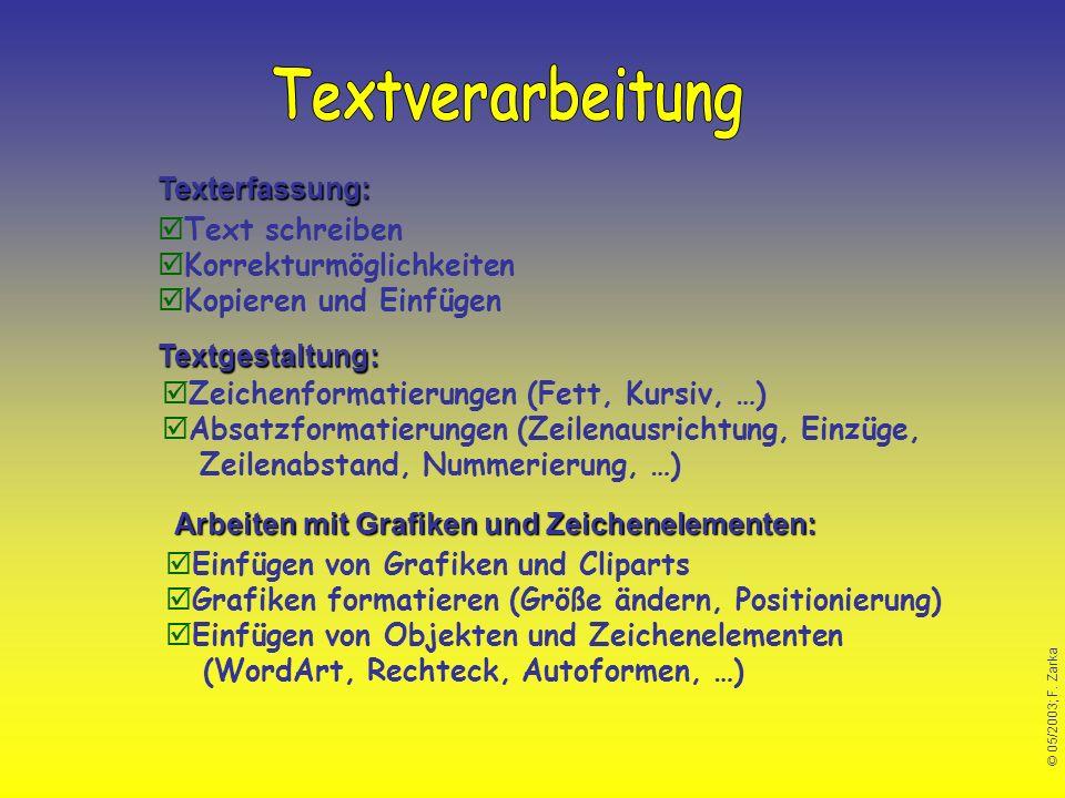 © 05/2003; F. Zarka Arbeiten mit Grafiken und Zeichenelementen: Textgestaltung: Texterfassung: Text schreiben Korrekturmöglichkeiten Kopieren und Einf